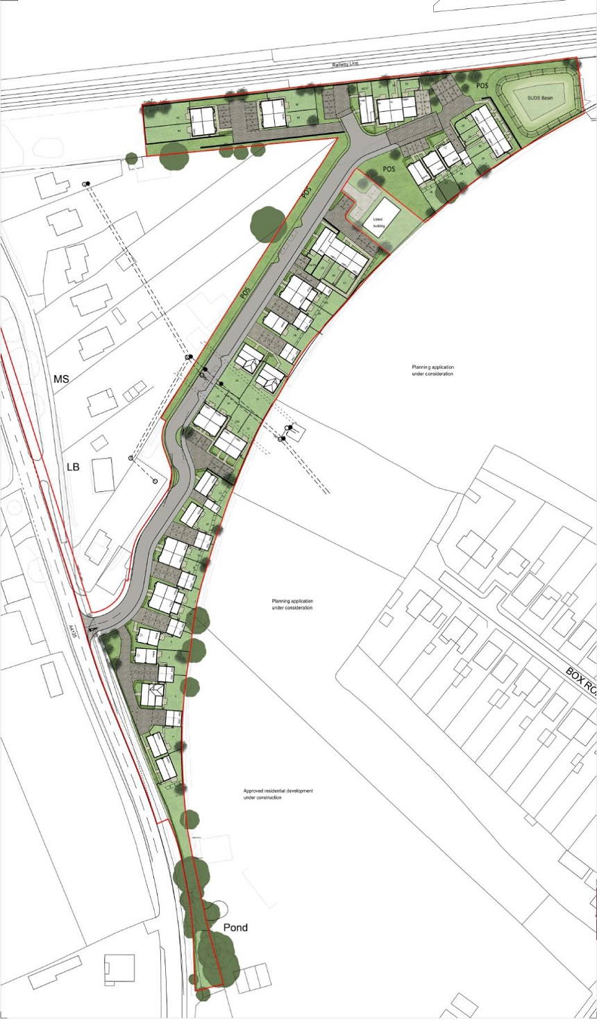 Proposed new homes at Coaley Junction